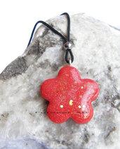 Collanina girocollo ciondolo fiore rosso glitterato in fimo idea regalo ragazza donna