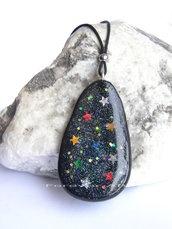 Collana ciondolo nero glitter e stelle in fimo idea regalo ragazza donna