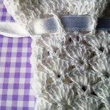 Sacchetto portasapone bianco all'uncinetto fatto a mano