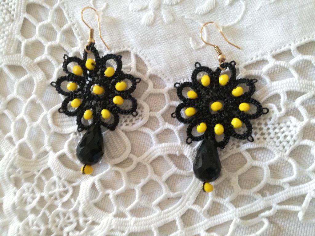 Orecchini girasole nero e giallo