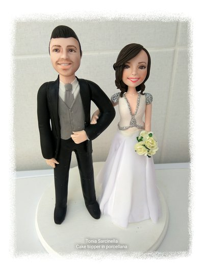Cake topper sposi eleganti e romantici