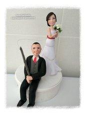 Cake topper sposi pesca