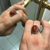 Anello Cabochon Ovale - Rosso