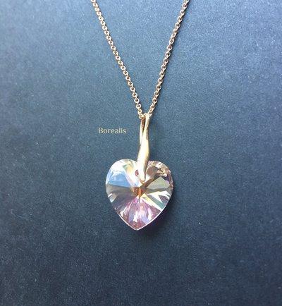 Girocollo Cuore Swarovski Rosa Delicato Argento 925 Rose Gold Filled Placcato Oro Rosa 14k