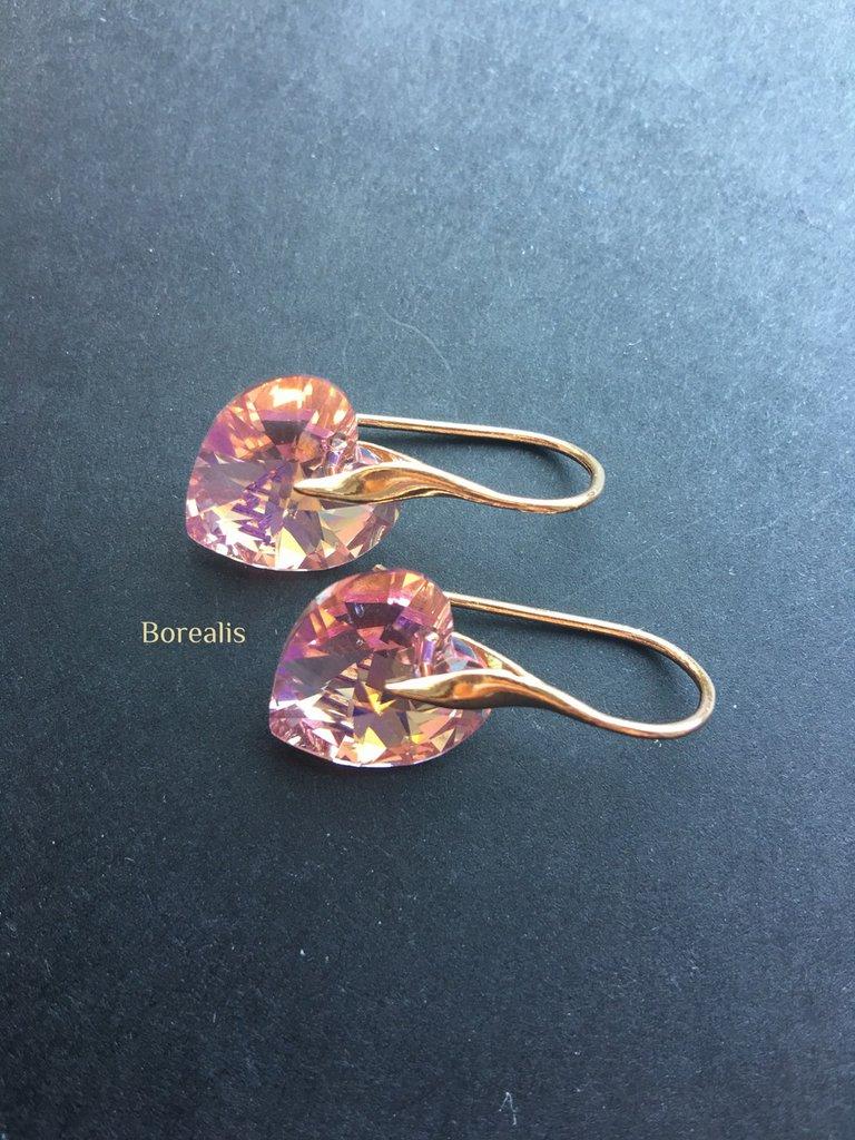 Orecchini Cuori Cristallo Swarovski Rosa Delicato Argento 925 Placcato Oro Rosa