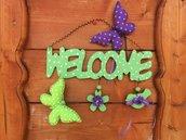 Fuori porta in legno welcome country verde e viola con applicazioni in feltro