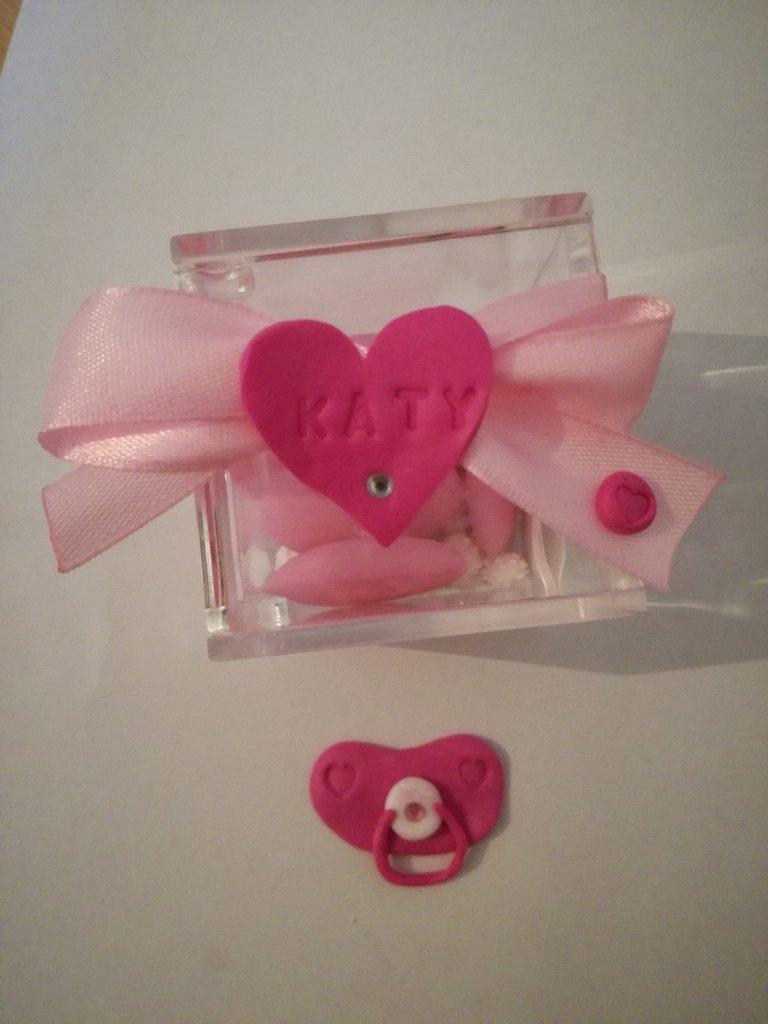 Scatolina bomboniera plexiglass nascita battesimo compleanno fino fatta a mano