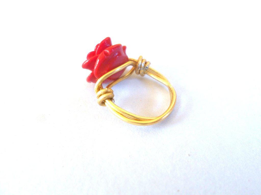 anello donna bigiotteria wire oro rosso rosa corallo