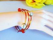 bracciale perline stile vintage spirale pietre preziose cornila