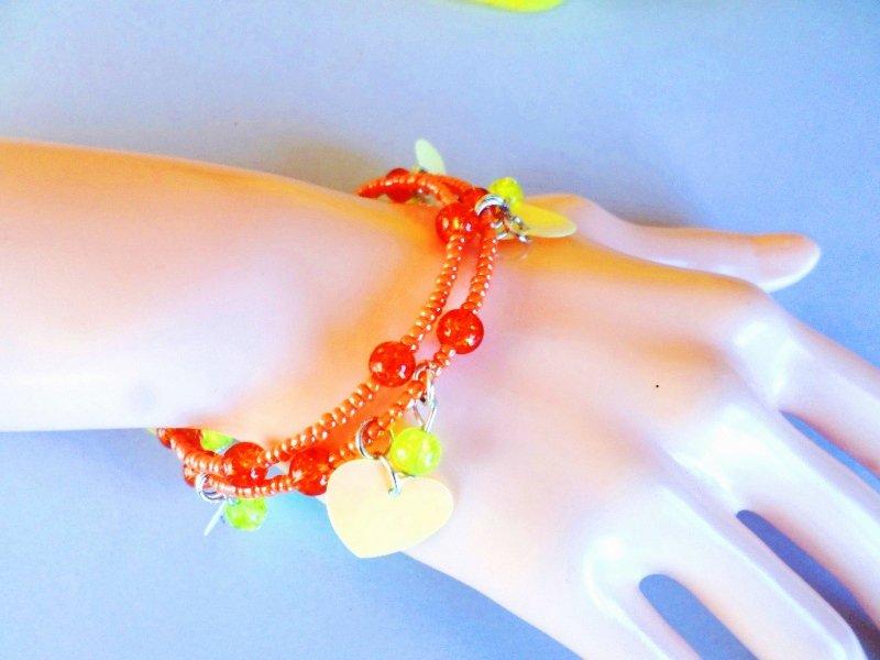 bracciale moda ragazza cuori giallo e arancio perle ceramica lucido