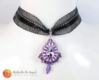 Collana ciondolo cristallo lilla ametista Carolina 03