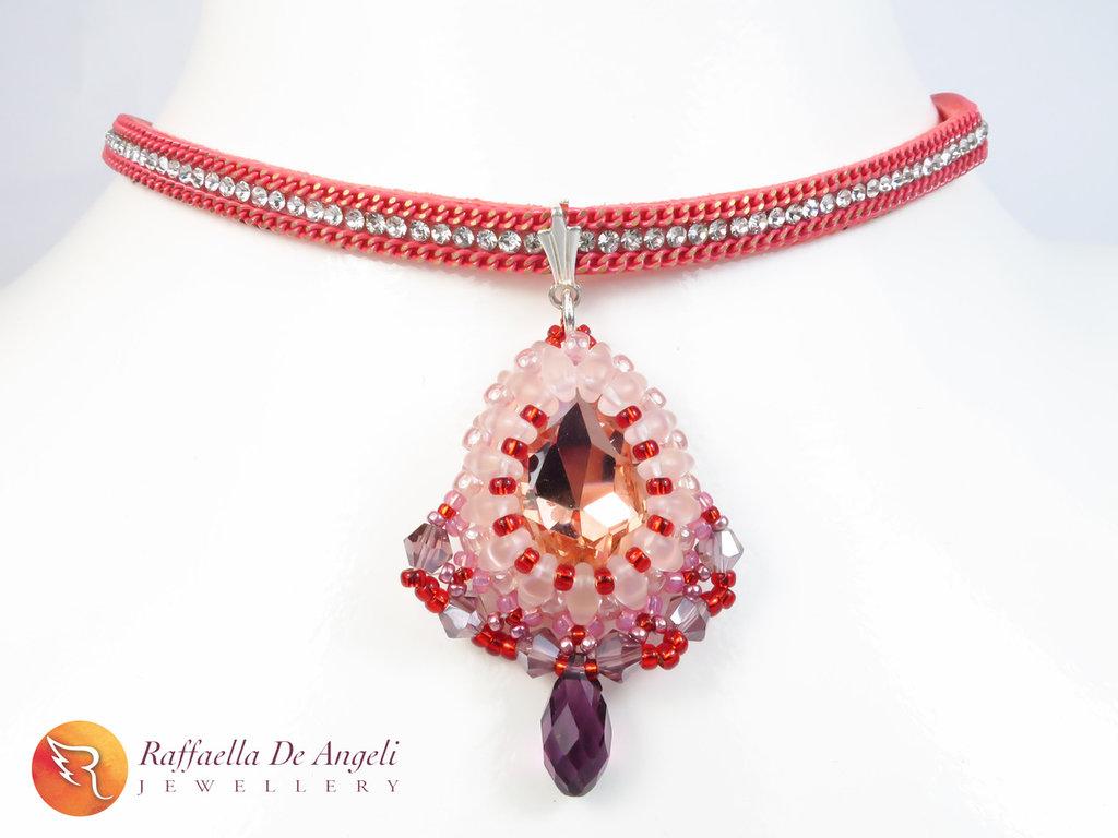Collana ciondolo cristallo rosa Carolina 06