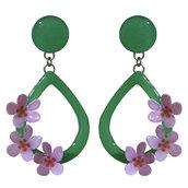 Orecchini goccia verde con tre fiori - Realizzati artigianalmente con serigrafie e smalti a cottura.