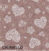 Pannolenci stampato romantic 50x90cm color cammello 20cm x 180cm