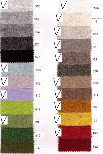 feltro di lana 2mm - 50x75cm colori a scelta