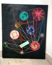 Quadro ingranaggi string art