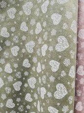 Pannolenci stampato romantic color verde muschio 20cm x 180 cm
