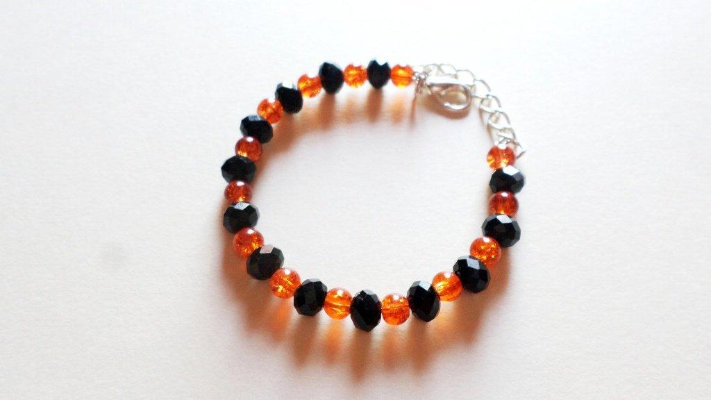 bracciale arancio e nero cristallo e vetro