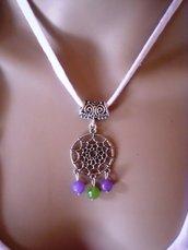 collana in tessuto con ciondolo etnico indiano cattura sogni con perle di agata verde e viola