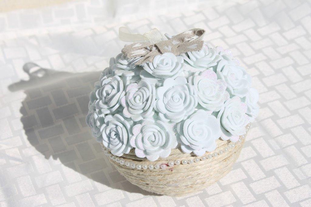 palla fiorita grande fiori fommy bianco glitter