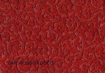 Feltro imprimè rosso effetto damascato in rilievo 20cm x 150cm