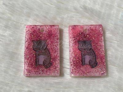 Ciondoli color Rosa con Gatto