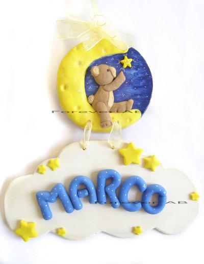 Fiocco nascita orso e luna con nuvola fimo orsetto targa battesimo bambino bambina
