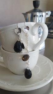 Orecchini pendenti in argento con topazio e agata