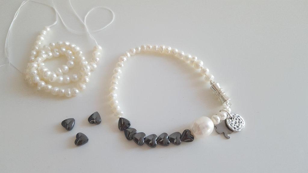 bracciale sottile con topazio e perle di fiume
