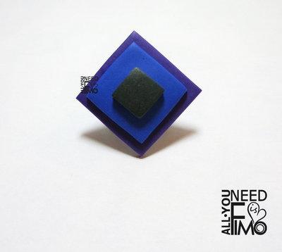 Anello geometrico | anello fimo|anello regolabile|anni 60|anello colori freddi|anello rombo|anni 70|gioielli geometrici