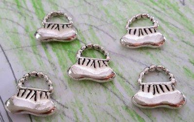 5 charms ciondoli 'Borsetta'  argento tibetano