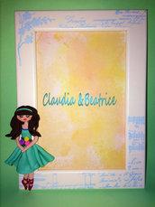 Cornice decorata con ballerina in fimo realizzata a mano. Idea regalo personalizzabile.