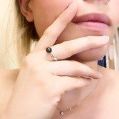 Anello perla - Nero