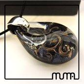 Stupenda collana, elegante ciondolo in vetro di Murano, certificato, fatto a mano