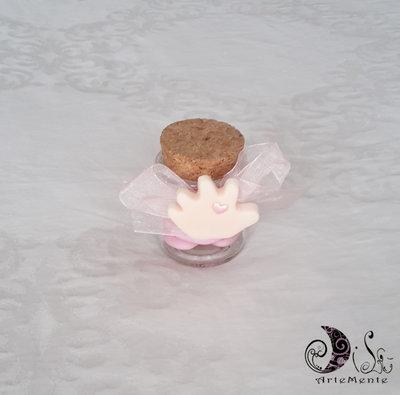 Bomboniera nascita e battesimo calamite manine con barattolino in vetro portaconfetti decorato personalizzato