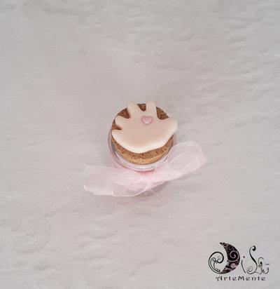 Bomboniera nascita e battesimo manine con barattolino in vetro portaconfetti decorato personalizzato