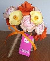 Bouquet fiori carta Arancio Rosa Giallo