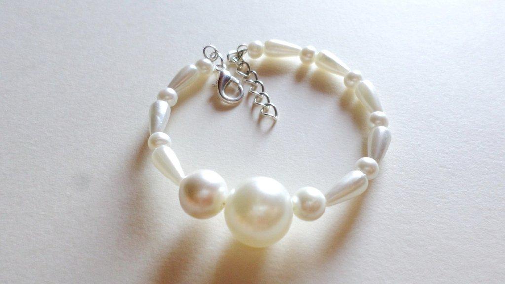 bracciale perle di imitazione acqua dolce semi rigido