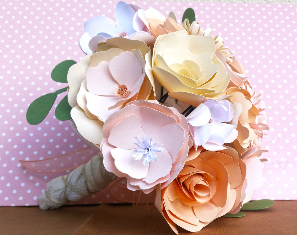 Bouquet Sposa Carta.Bouquet Sposa Carta Delicato Feste Matrimonio Di Pimpinella