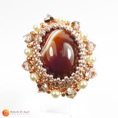 Anello agata marrone peyote Rachele 01
