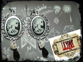 orecchini cameo teschi argento pendente gothic vittoriano