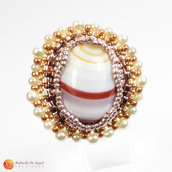 Anello agata marrone peyote Rachele 02