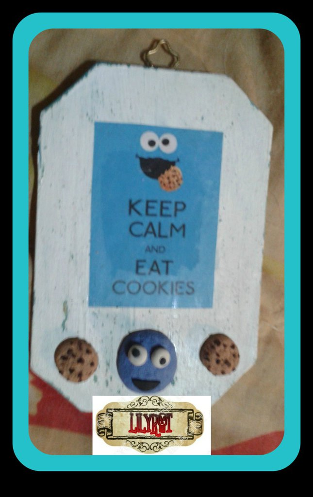 targa targetta keep calm cookie monster biscotti mostro