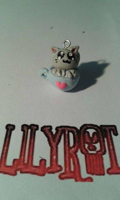 gatto cuore in tazzina ciondolo kawaii