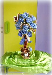 Alberello topiary alto 60 cm con fiori di carta e farfalle in fommy