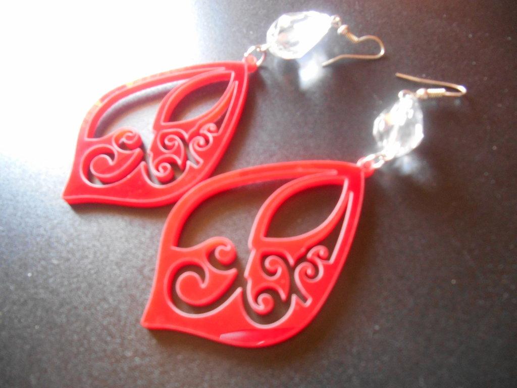 Orecchini stily liberty in plexiglass colore rosso