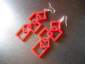"""orecchini """"cubik"""" in plexiglass colore rosso"""