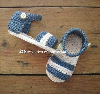 Sandali scarpine jeans scuro e avorio - neonato/bambino - cotone/uncinetto