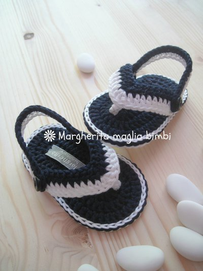 Sandali infradito bianchi/blu - Battesimo - scarpine bimbo - cotone uncinetto