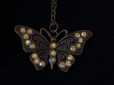 Ciondolo bronzo antico farfalla con strass nichel free